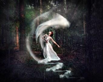 Inner Music- wall art, dancer portrait, veils, white dress, ballerina, woods, fantasy, trees, forest, chiffon, dancing, ballet, white gown