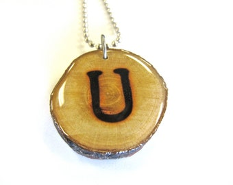 Letter U Necklace, Reclaimed Wood