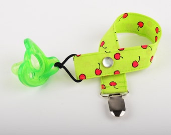 Pacifier Clip - lime with cherries