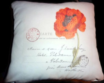 Paris Pillow Cover - Vintage French Postcard - Red Poppy - 16x16 Pillow Cover - French Country Decor