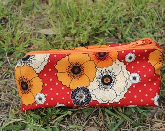 Zippered Makeup Bag Flat Bottom Orange and Red Floral with Orange Lining & Zipper
