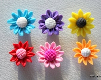 6 x Mixed Fimo Sunflower Polymer Clay Bead 25mm
