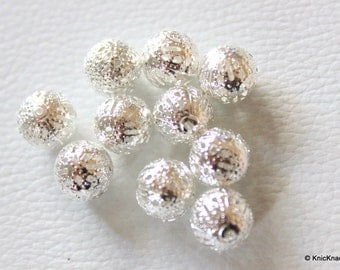 10 x Silver Plate Ornate Filigree Spacer Beads 10mm