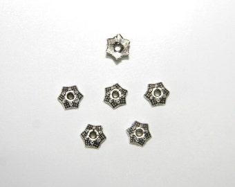 25 PCs  bead caps / 7mm / antique silver tone   PK044
