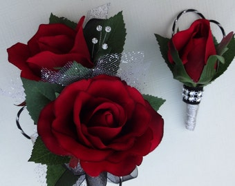2 Piece wrist corsage and boutonniere in red roses