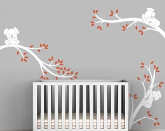White Tree Wall Decal Baby Nursery Wall Decals Tree Sticker Nursery Decor - Koala Tree Branches by LittleLion Studio