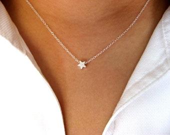 Dainty Stardust Star Necklace - Little Sterling Silver Necklace with Sterling Silver Stardust Star Bead  - star necklace - pendant necklace