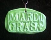 Mardi Gras yellow green handmade Pottery Ornament