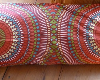 Body pillow cover in Richloom Badabing Garden red, green turquoise and white fabric