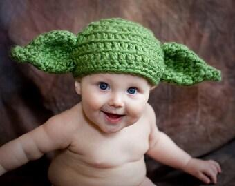Yoda Hat, Star Wars, Yoda Costume, Baby, Child, Dobby, Toboggan, gifts, Beanie, Crochet, Adult, Kids, Toddler, Child, Hat, Girls, Boys