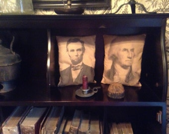 Abraham Lincoln OR George Washington Primitive Pillows