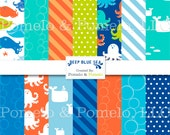 "Deep Blue Sea, Digital Scrapbook Paper Pack, 12"" x 12"""