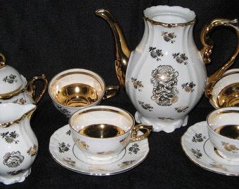 Demitasse Set Barvaria Porcelain and 22kt Gold