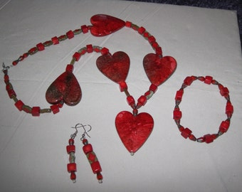 5-HEART NECKLACE  for a Special Lady-with Red and Olive Green