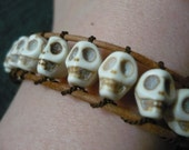 Skull bracelet leather and silk woven gothic bohemian bracelet