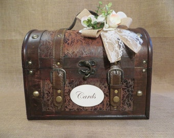 Pick your colors Wedding Trunk, Wedding Card Holder, Card Box, Money Holder, Money Box, Wedding Suitcase, Rustic Wedding Box