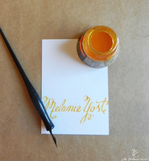 Gold Wedding Name Place Cards Escort Cards Custom Calligraphy