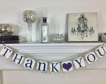 Thank You Sign - Peacock Themed - Rustic Wedding Banner Photo Prop - Wedding Sign - Wedding Decoration