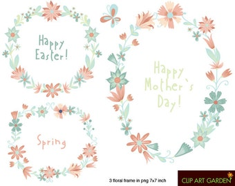 INSTANT DOWNLOAD Floral frames 02. Digital clipart elements. (webdesign, paper crafts, card making, scrapbooking)