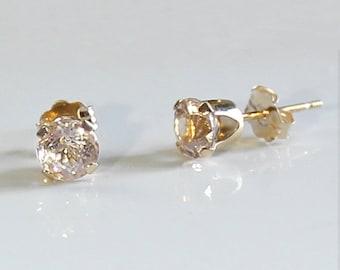 Natural Morganite 14K Yellow Gold Earrings / 14K Solid Gold Morganite Earrings Stud Post