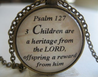Children Are A Heritage From The Lord Scripture Necklace Bible Verse Psalm 127:3