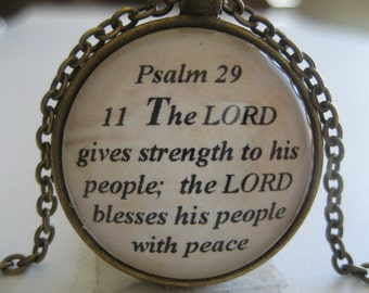The Lord Gives Strength To His People Scripture Necklace Bible Verse Psalm 29:11