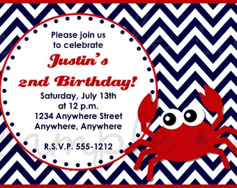 Crab Birthday Invitation