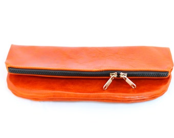 Foldover Leather Clutch in Bootstrap Brown