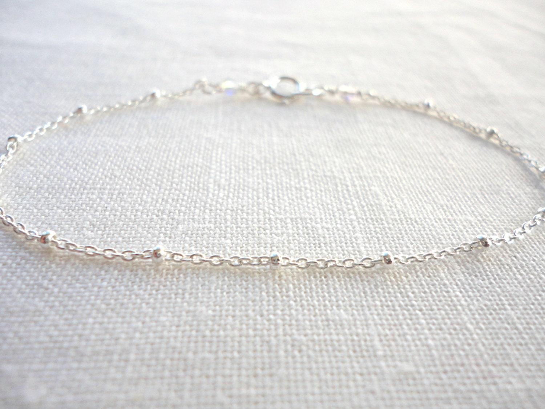 Simple sterling silver bracelet satellite bracelet