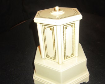 Vintage Antique Swiss Beige Plastic Cigarette Dispenser Music Box