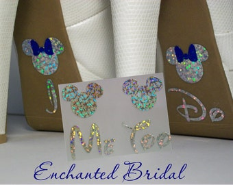 NEW Disney Inspired Minnie I Do and Me Too Shoe Stickers You Pick Color Sparkly Wedding Shoe Decals