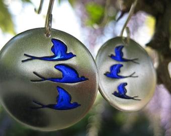Swallow earrings, silver and enamel earrings, drop earrings, handmade jewellery, three Blue Birds, bird earrings, blue, Fly, Birds, swifts