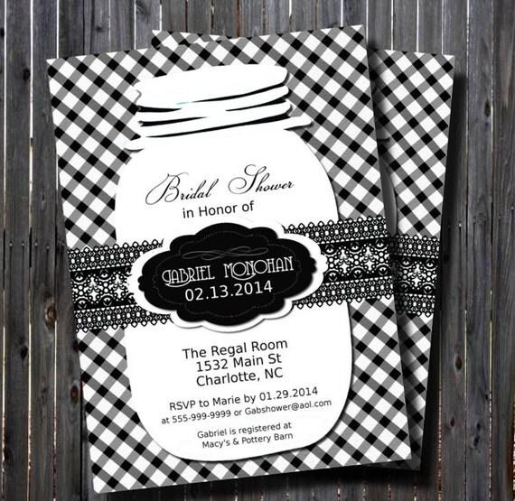 Mason Jar Gingham Bridal Shower InvitationBlack White – Black and White Wedding Shower Invitations