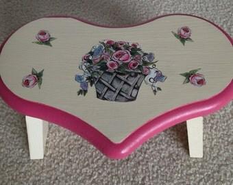 Rose Basket Heart Wood Decorative Stool
