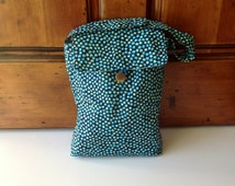 Lunch Bag Tote Blue with Polka Dots, Amy Butler Fabric Lunch Bag, Insulated Lunch Bag with Wipe Clean Lining