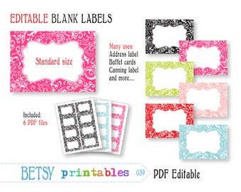 Editable labels, digital labels or tags, pastel PDF labels or tags - INSTANT DOWNLOAD  039