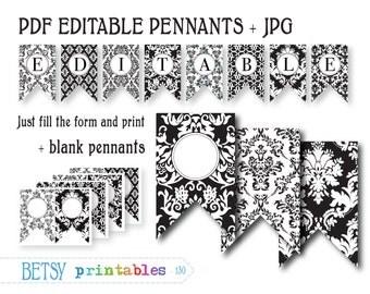 Damask banner - PDF Editable pennants - Digital  banner - Instant Download  BP 130