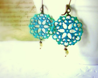 Verdigris Earrings Blue Vintage Lace Brass Rosettes Doily earrings Round Filigrees Romantic jewelry White freshwater Pearl Gift for her