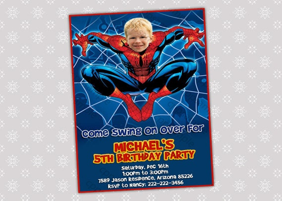 Spiderman Birthday Party Invitation Your by CreativePartyPixels