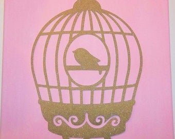12x12 Canvas- Hand Painted Baby Pink Canvas With Glittered Gold Bird Cage