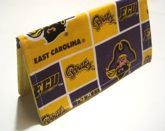 Fabric Checkbook Cover- Wallet, Coupon Holder- Made with ECU Pirates Fabric
