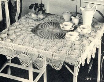 Pineapple Crochet Tablecloth Pattern, 1946 Vintage