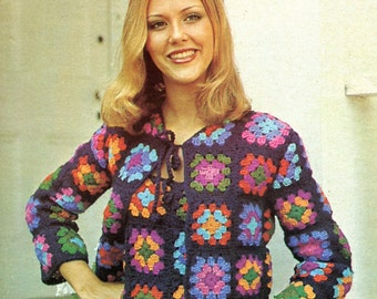 1970's Granny Squares Sweater Set, Crochet PATTERN