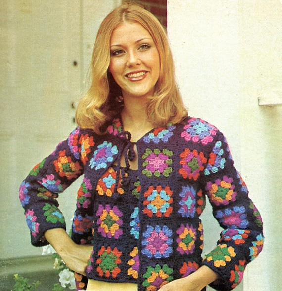 Crochet Granny Square Sweater Pattern : 1970s Granny Squares Sweater Set Crochet PATTERN