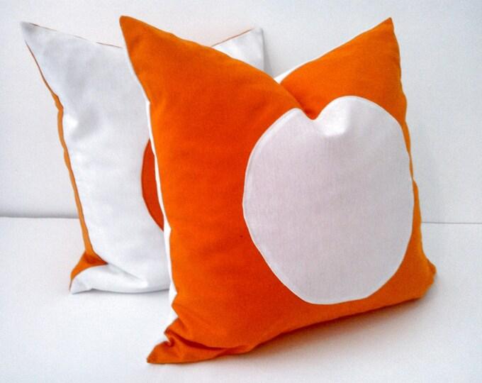 orange throw pillow cover with white circle geometric white and orange cushion free shipping