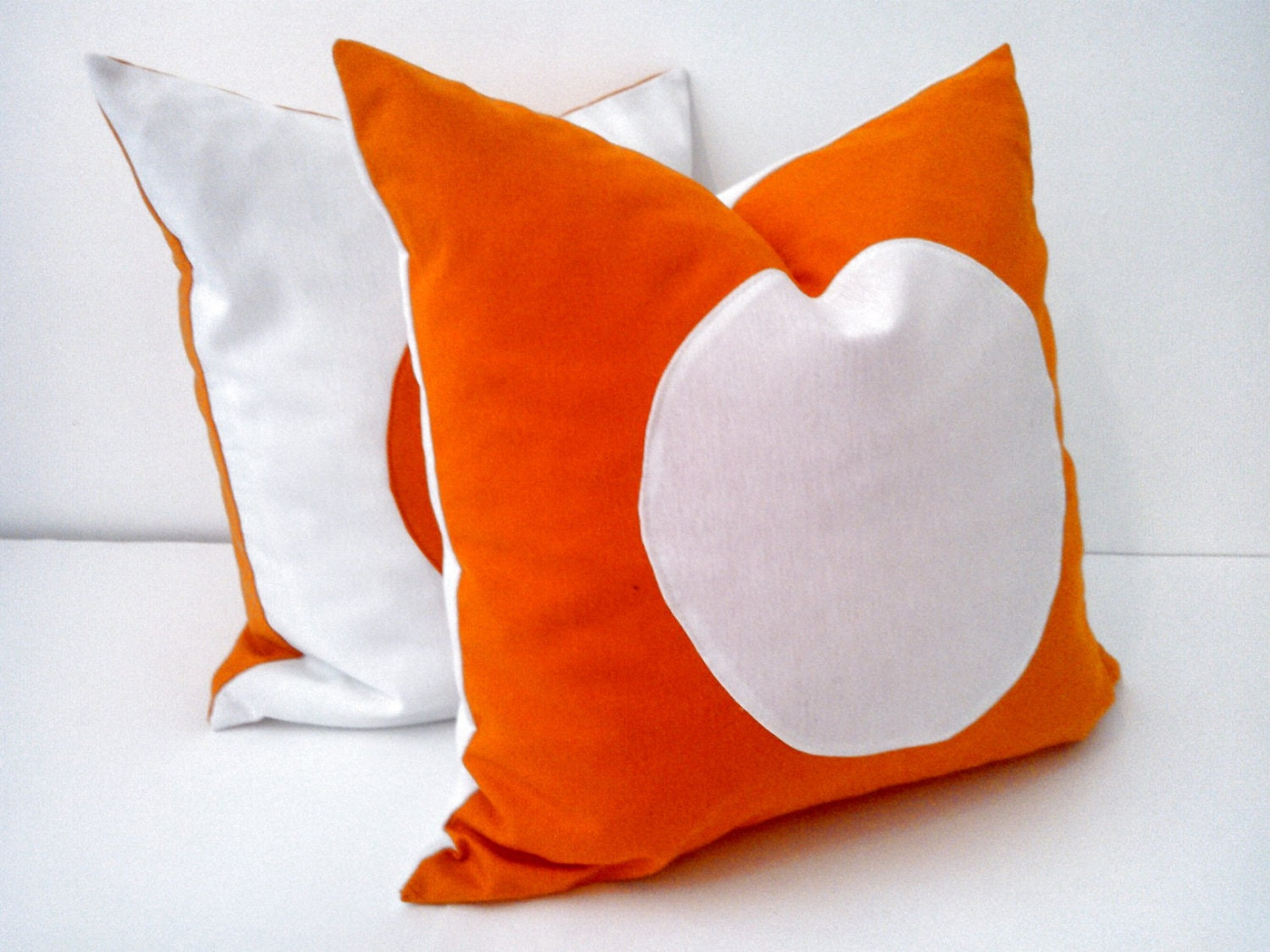 Orange Throw Pillow Cover With White Circle, Geometric White and Orange Cushion. Free Shipping