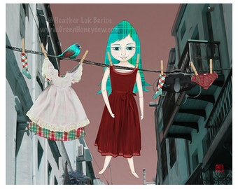 Hung Out To Dry - Fine Art Print -  Digital Painting - Fantasy, Whimsical, Girl, Red, Teal, Laundry, Plaid, Tartan