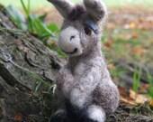 Handcrafted Needle Felted Sitting Donkey