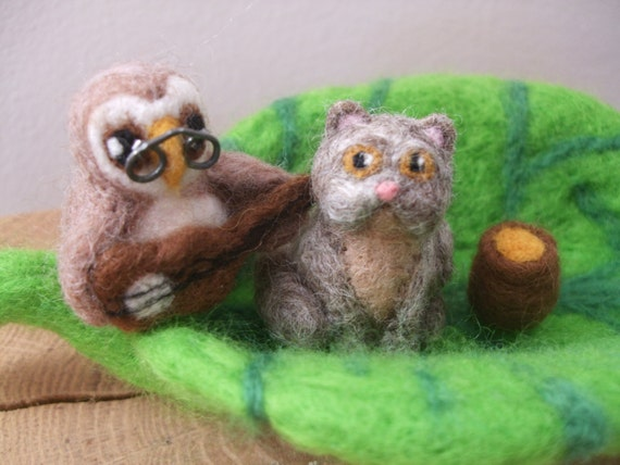 Handmade Needle Felted Owl and the Pussycat in a Pea Green Boat