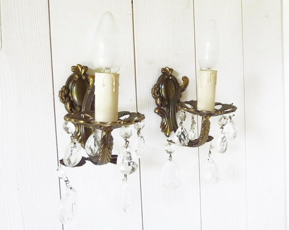Pair of French Wall Sconces with Hanging Crystals by LaLoupiote